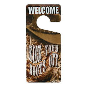 "Door Knob Hanger, Metal, Welcome, Kick Your Boots Off, 4"" x 9"""