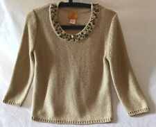 Ruby Rd. Petite Gold Sparkle Long Sleeve Sweater. Beaded Neck. Size PM. 4d4ddd4b0935