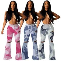 Women's Fashion Camouflage Print Hole Design Skinny Long Bell-bottoms Pants