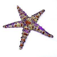 Small Figurine Aquarium Handicraft Hand Blown Glass Purple Starfish Statue