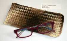 New Unique Handmade Crochet Eye Glass Sunglass Holder Carrier Beige Brown Tones