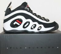 Boys Kids Junior Fila Bubbles Retro Basketball Shoes White Black Red GS 3.5-7