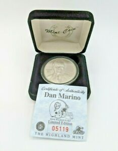 Highland Mint Miami Dolphins Dan Marino Solid Brushed Nickel Coin 5119 NFL