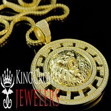 Mens 10K Yellow Gold Silver Lion Head Lab Diamond Pendant Greek Style Medallion