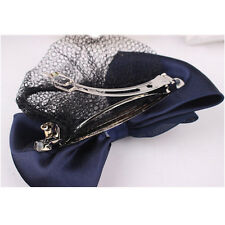 Lady Woman Bow Hairnet Barrette Bowknot Hair Clip Bun Cover Snood Net HGZT