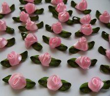 "7/8"" Pink Ribbon Satin Triangle Shape Rose w/Leaf- 50 PCS-R0055K"