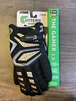 Cutters The Gamer 2.0 Football Padded Receiver Gloves Black Adult X-Large