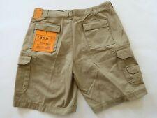 NEW Izod Mens Solid Tan Rock Wash Casual Cargo Khaki Utility Shorts Size 38
