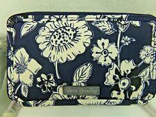 Vera Bradley Blue Midnight Floral All In One Crossbody Bag Wallet RFID