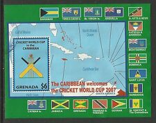 GRENADA 2007 ICC CRICKET WORLD CUP FLAGS MAP Souvenir Sheet FINE USED