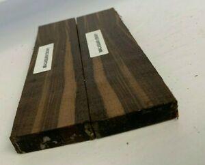 "1.5"" x 3/8"" x 5"" Macassar Ebony Lumber Blank DIY Material Knifemakers Book Match"
