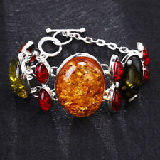 Chic Vintage Women Amber Bracelet Bangle 925 Silver Chain Jewelry Wedding Gift