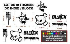 Kit 10 Sticker Autocollant DC Shoes - Block plusieurs couleurs