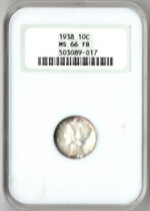 1938 Mercurey dime NGC MS66 FB