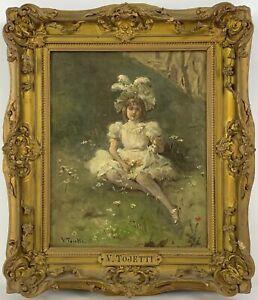 Listed Artist Virgilio Tojetti (1851-1901) Signed Oil Painting On Canvas
