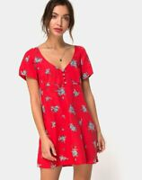 MOTEL ROCKS Meca Dress in Soi Rose Red Extra Small XS  (MR71)