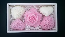 5 Pcs Rose & Heart Bar Soap Gift Box Set Handmade Decorative Scented For Her