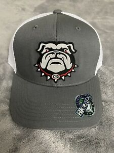 GEORGIA BULLDOGS EMBROIDERED UGA DAWG MASCOT LOGO PATCH HAT GRAY TRUCKER NEW