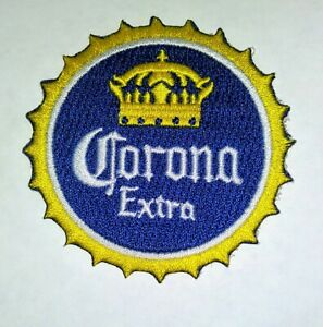 """CORONA EXTRA bottlecap iron on embroidery patch 2.5"""" X 2.5""""  patches MEXICO Beer"""