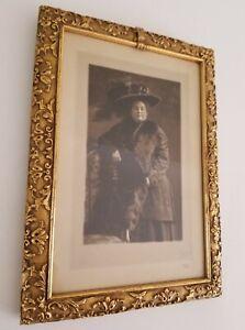 Antique Signed Portrait Picture Frame Photo Vintage Ornate Gold Wood Table Frame