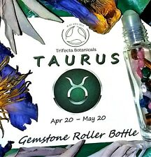 TAURUS Zodiac Roller Bottle Crystal Set for Essential Oil Astrology Wicca Gift