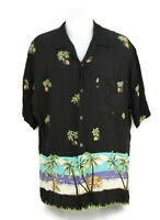 Pineapple Collection Aloha Hawaiian Shirt Palms Trees Tropical Beach Black Large