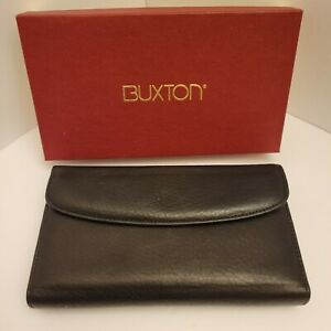 BUXTON Black Organizer Clutch Leather Wallet Style 35578 ~~NEW in BOX~~
