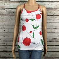 Lululemon Ujjayi Power Y Luon Yoga Tank Top Size 4 6 Red Rose Floral Print