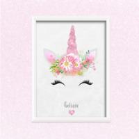 Unicorn PRINT ONLY a4 Gift Picture pink wall art girly bedroom personalised