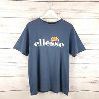 Vintage Ellesse Mens Navy Blue Short Sleeve Logo Print TShirt Size Small L Large