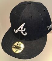 NEW ERA 59FIFTY Fitted Cap 5950 Atlanta Braves hat Washed Denim hat SIZE 7 1/4
