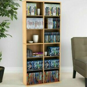 DVD Storage Rack Organizer Wall Cabinet CD VHS Blu-Ray Media Large Tower Shelf