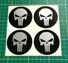 4 x 50mm Alloy Wheel stickers Punisher Silver and Black center badge trim cap