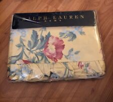 "RALPH LAUREN HOME-""PARSONAGE"" YELLOW- TWIN RUFFLED FLAT SHEET-NEW-100% COTTON"