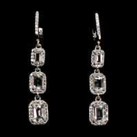 Unheated Octagon Aquamarine 7x5mm Natural White Cz 925 Sterling Silver Earrings