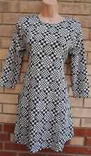 NEW LOOK WHITE BLACK DOG TOOTH CHECK SILKY FEEL SMOCK BAGGY TEA DRESS 10 S