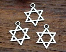 10 STAR OF DAVID SILVER TONE CHARMS 13 MM X 9 MM