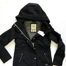 NWT Abercrombie & Fitch Womens Wind Water Resistant Technical Black Jacket coat