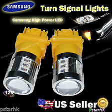 2pcs 3157 3156 Samsung 18-SMD LED Turn Signal Light DRL Projector Lens Amber #gm