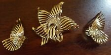 Vintage Signed Marboux Brooch and Earrings Gold Tone Rhinestone Swirl Fan Rare