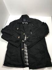 Wantdo Black Denim Jacket Coat Mens Long Sleeve Plaid Interior Excellent