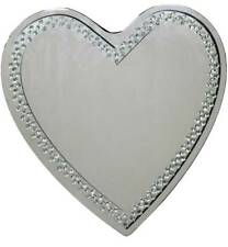 Heart Shaped Floating Crystal Wall Mirror - 70cm