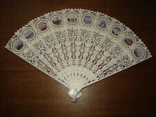 Vintage old White Celluloid Open-Work Russian Moscow Fan/Box