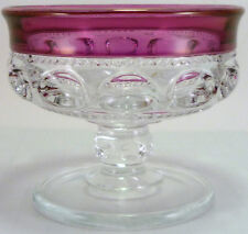 Tiffin Glass Clear Crystal w/ Light Ruby Stain Kings Crown Pattern Sherbet   /s