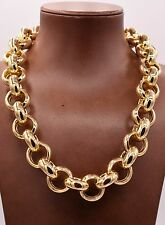 Bold Oval Rolo Chain Necklace All Polished Shiny 14K Yellow Gold Clad Silver 925