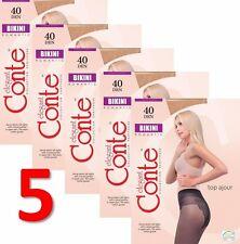 LOT of 5 Packs CONTE Elegant Women's Tights Lace Panties BIKINI 40 Den S M L