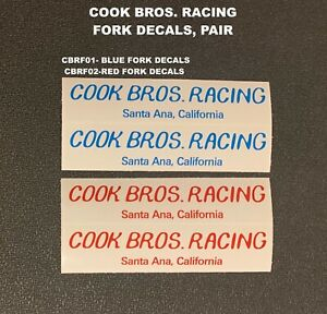 COOK BROS RACING FORK DECALS, Blue on Clear decals, 1 pair