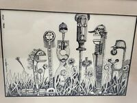 """Framed Pen And Ink Drawing Signed 1990 People Are Tools 10.5"""" By 7"""""""