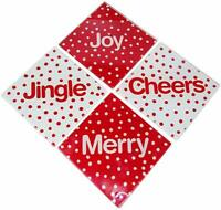 Set Of 4 Glass Christmas Holiday Coasters with Joy, Jingle, Cheers, Merry