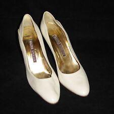 "WALTER STEIGER Women 9 AA White Stiletto Pumps 3.5"" High Heels Italy Shoes"